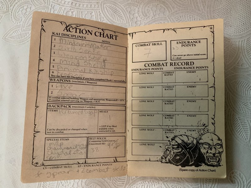 Lone Wolf: one of my old Action Charts (character sheets).