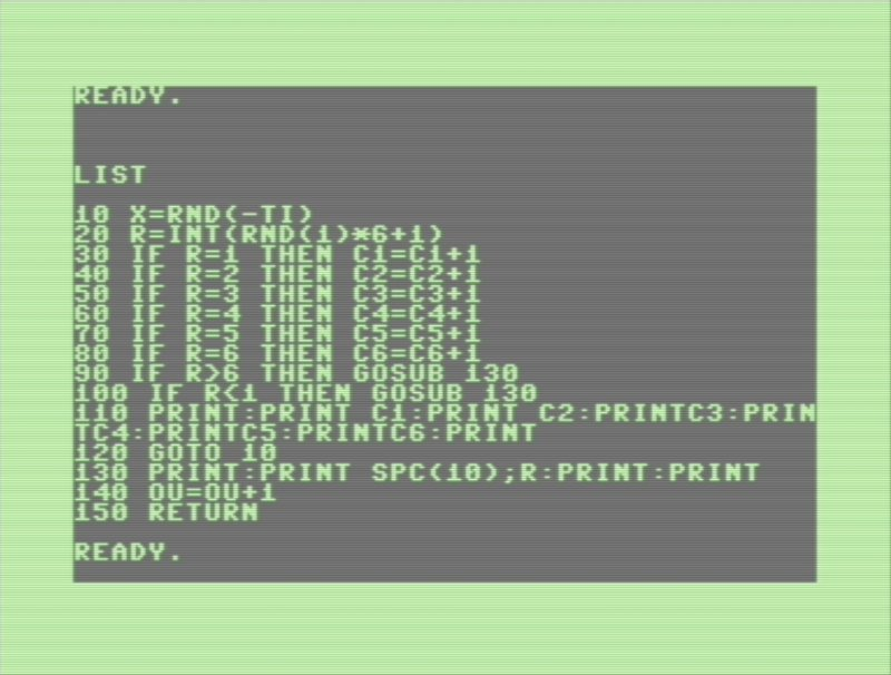Commodore 128 d6 testing program in BASIC