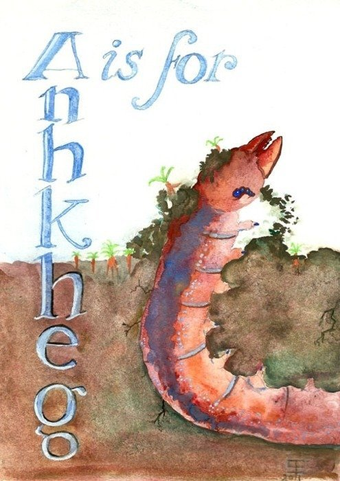 A is for Anhkheg watercolor