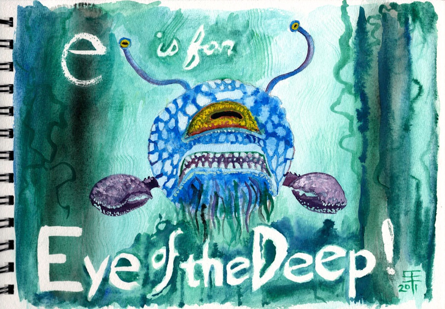 E is for Eye of the Deep watercolor